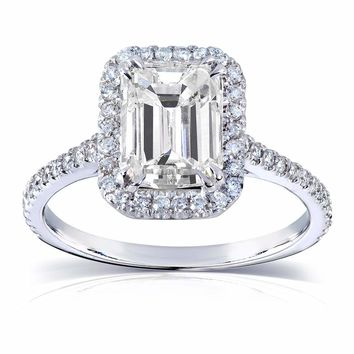 Certified Clarity Enhanced 2ct Emerald Cut Genuine Diamond Engagement Ring in 14k White Gold