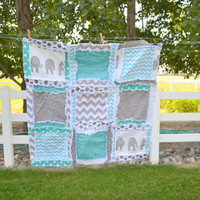 RAG QUILT, Elephant, Chevron, and Polka Dot, Baby Blanket in Turquoise Blue and Gray Made to Order