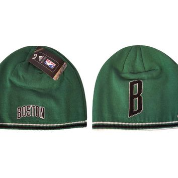 Adidas Boston Celtics Knit Beanie Hat Cuffless Knit - Dual Logos on Cap