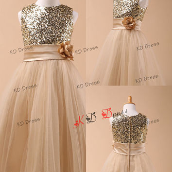 ON SALE!! Champagne Sequins Tulle Flower Girl Dress  Birthday Party Dress  with Sash/Ruffle Flower(Z1037)