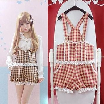 Brown/Red Plaid Women Overalls Princess Lolita Girls Overalls Vintage Lace Jumpsuits Bow Bloomers Suspender Shorts Bodysuits