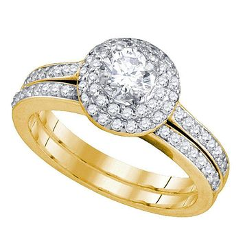 14kt Yellow Gold Women's Round Diamond Halo Bridal Wedding Engagement Ring Band Set 1.00 Cttw - FREE Shipping (US/CAN)