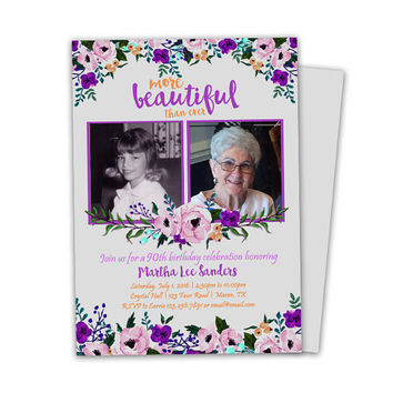 Purple Birthday Invitations - Ladies Floral Invitation - 90th 80th 70th 60th 50th - Lavender Photo Invitation - Beautiful - Woman Adult