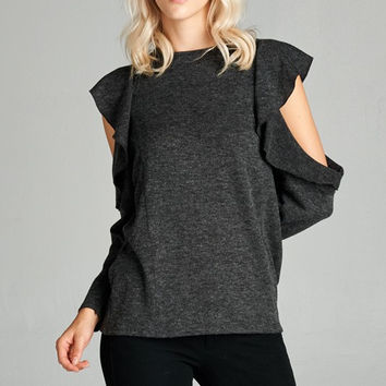 RWL BOUTIQUE - Open Shoulder Ruffle Top - Ruffles with Love - RWL