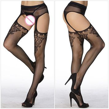 2017 Hollow Out Tights Lace Sexy Stockings Female Thigh High Fishnet Embroidery Transparent Pantyhose Women Black Lace Stocking