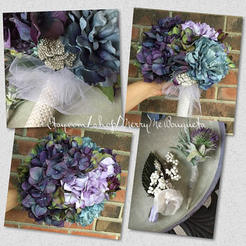 Silk Hydrangea Wedding Bouquet. Purples, greens, dusty blue, lavender flowers with brooches.