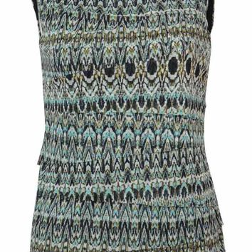 Alfani Women's Ikat Print Sleeveless Tiered Mesh Blouse