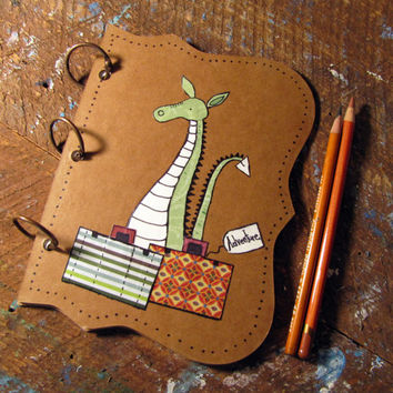 Mixed Media Original Art Journal Adventure Blank Book Kids Whimsical Artwork Dragon Travel Art