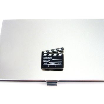 Business Card Holder with Film Clapper Board Pendant
