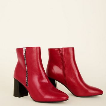 Wide Fit Red Pointed Flared Heel Boots | New Look