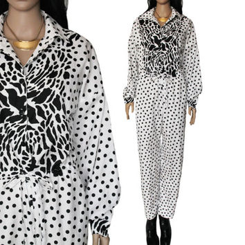 I. Magnin Jumpsuit 80s 90s Black and White Polka Dot Slouchy Onesuit Hipster Hip Hop Modern Clothing Womens Size Medium Large