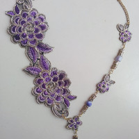 Lace necklace, golden and purple color, unique, lightweight, flower pattern, golden chain, gemstone and clay beads, party, bridesmaid,