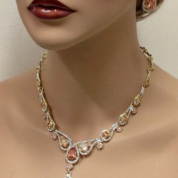 Bridal jewelry set, Wedding jewelry set, vintage inspired champagne crystal Luxury brilliant AAA cubic zircon necklace earrings set