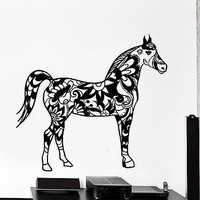 Wall Decal Horse Mustang Ornament Tribal Mural Vinyl Decal Unique Gift (z3194)