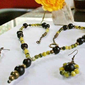 Beautiful & Exotic Jade Necklace Earrings Set - Bohemian Necklace w/ Faceted Lemon Jade Gemstones Copper Beads and Mexican Acai Beads
