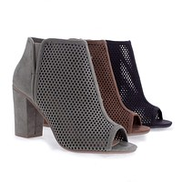 Fabio By Delicious, Peep Toe Laser Perforated Chunky Heel Sandals