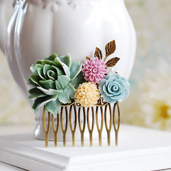 Sage Green Peony Powder Blue Rose Ivory Lilac Flowers Hair Comb, Wedding Bridal Hair Comb, Bridesmaid Gift, Shabby Chic Country Wedding