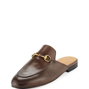Gucci Princetown Leather Horsebit Mule Slipper Flat, Brown