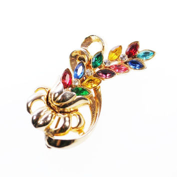 Vintage Flower Bouquet Brooch Pin, Colorful Rhinestone Brooch, Navette Rhinestones, Gold Flower Brooch, Unsigned TRIFARI, 1940s WWII Jewelry