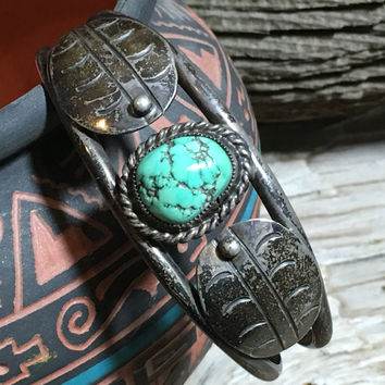 Turquoise Bracelet Sterling Silver Navajo Southwestern Cuff Stacking