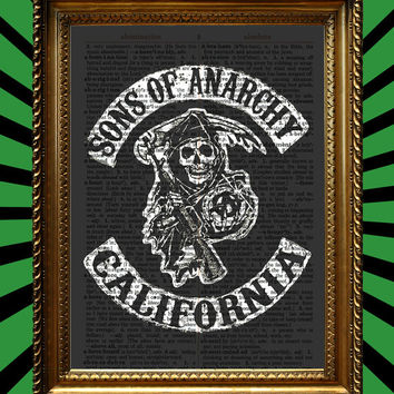 Sons of Anarchy California Patch Awesome Upcycled Vintage Dictionary Page Book Art Print