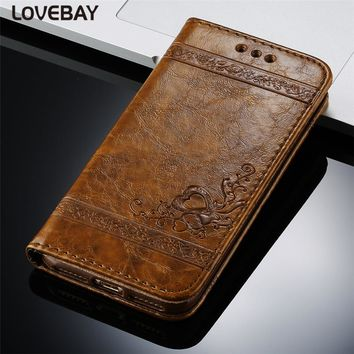 Flip Leather Phone Case For iPhone 7 7 Plus 6 6s Plus 5 5s SE 4 4S Retro Flowers Pattern Wallet Card Hold Full Cover Phone Case