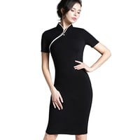 Women Formal Elegant Stand Collar Rockabilly Pinup Plus size Short Sleeve Career Zipper Pencil Vintage Midi Bodycon Dress b60