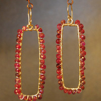 Hammered Rectangle Earrings with Ruby Bohemian 78