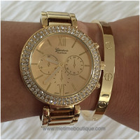 Madison Bangle Bracelet Rhinestone Watch - 2 colors available