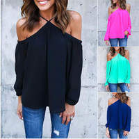 Candy Colors Cut Out Neck Off Shoulder Blouse Long Sleeve Loose Casual Top Loose Sexy Streetwear 2016 Women clothes