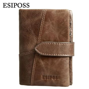 Genuine Leather Vintage Men Wallets Famous Brand High Quality Hasp Design Male Wallet with Card Holder for Men's Purse Carteira