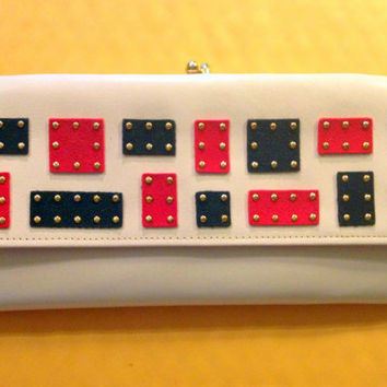 White Leather Four Pocket Clutch Purse with Red and Navy