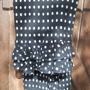Polka Dots Chiffon Skirt Black and White Ruffled Tiers Trimmed French Fashion Medium