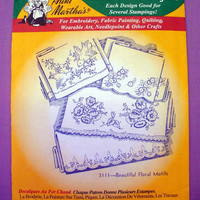 "Aunt Martha's ""Beautiful Floral Motifs"" Hot Iron Transfer Pattern 3111 for Embroidery, Fabric Painting, Needle Crafts"