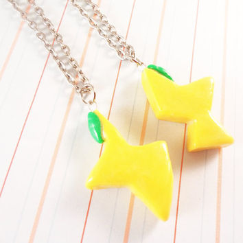 Kingdom Hearts Paopu Fruit Polymer Clay Friendship Necklaces