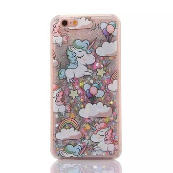 Cartoon Unicorn Horse Cover Dynamic Paillette Glitter Stars Water Dynamic Liquid Case for iPhone 4 4S SE 5 5C 5S 6 6S 7 8 / Plus