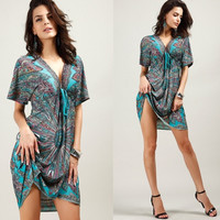 Fashion Women Sexy V-neck Beach Dress Empire Print Loose Bohemian Dresses = 1928368260