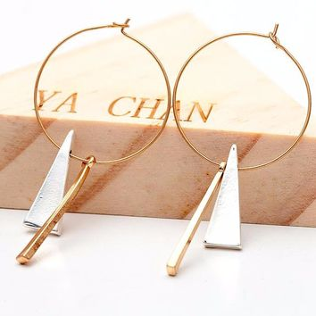 Vintage Gold Big Circle Bar Geometric Silver Triangle Pendant Hoop Earrings