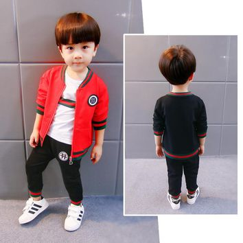 2018 3 Pcs Children Boys Clothing Set Kids Cotton Sets Spring Autumn Winter Boy Outfit Sports Suit Boys Fashion Tracksuit