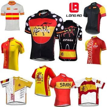 SPAIN Team Road Bike MTB Cycling Jersey longao Flag bike jersey /shirt Bicycle Clothing Ropa Ciclismo High Quality Quick-Dry