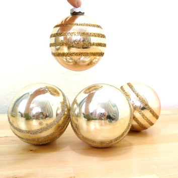 Vintage Gold Ornaments / Shiny Brite Ornaments / Glass Christmas Balls / Christmas Decor / Mid Century Ornaments