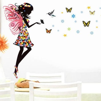 wall sticker home decor butterfly sticker Bicycle and lovely girs sticker for home decor For Kids Rooms SM6