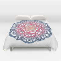 Radiant Medallion Doodle Duvet Cover by Micklyn