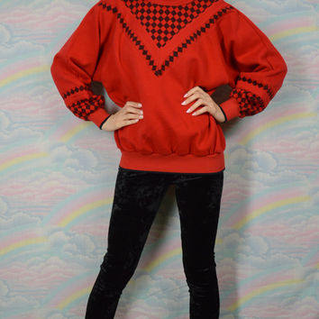 90s Sweatshirt Oversize Sweater Soft Grunge Preppy Hipster Vintage Checker Print Red Black Womens Medium