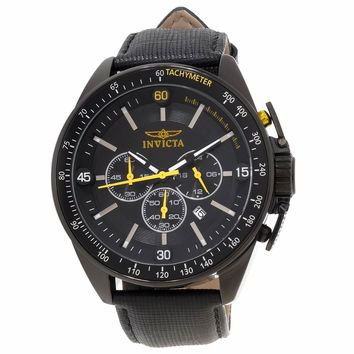 Invicta 15910 Men's S1 Rally Black Dial Black IP Steel Black Leather Strap Chronograph Watch