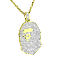 "Babe Ape Custom Pendant Iced Out 14k Gold Plated Lab Diamonds 24"" Free Box Neckalce"