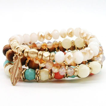 Multi Layer Crystal Bead Charm Bracelet