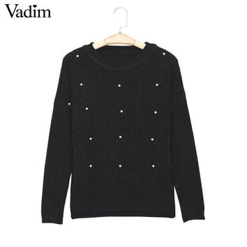 Women pearl beading elastic sweaters candy colors o neck long sleeve elegant thick winter warm pullover female casual tops ZC059