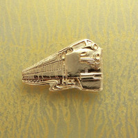 14 Karat Gold Plated Solid Brass Train Magnetic Tie Clip Bar or Tack