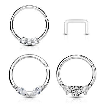 WILDKLASS 3 Pcs Value Pack Assorted Half Circle Bendable Nose Septum and Ear Cartilage Hoops with Free Clear Retainer